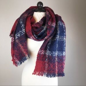Red & Blue Plaid Nubby Blanket/Scarf